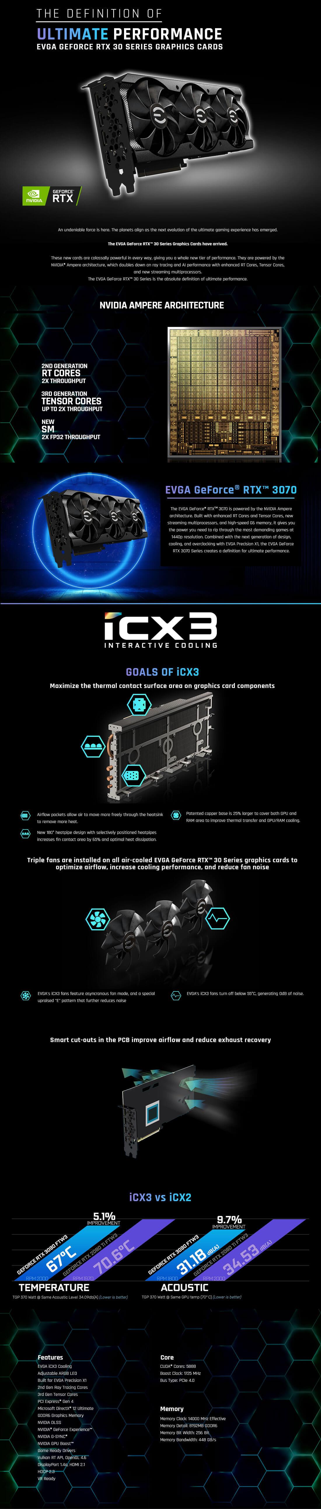 EVGA GeForce RTX™ 3070 XC3 ULTRA GAMING - 8GB GDDR6